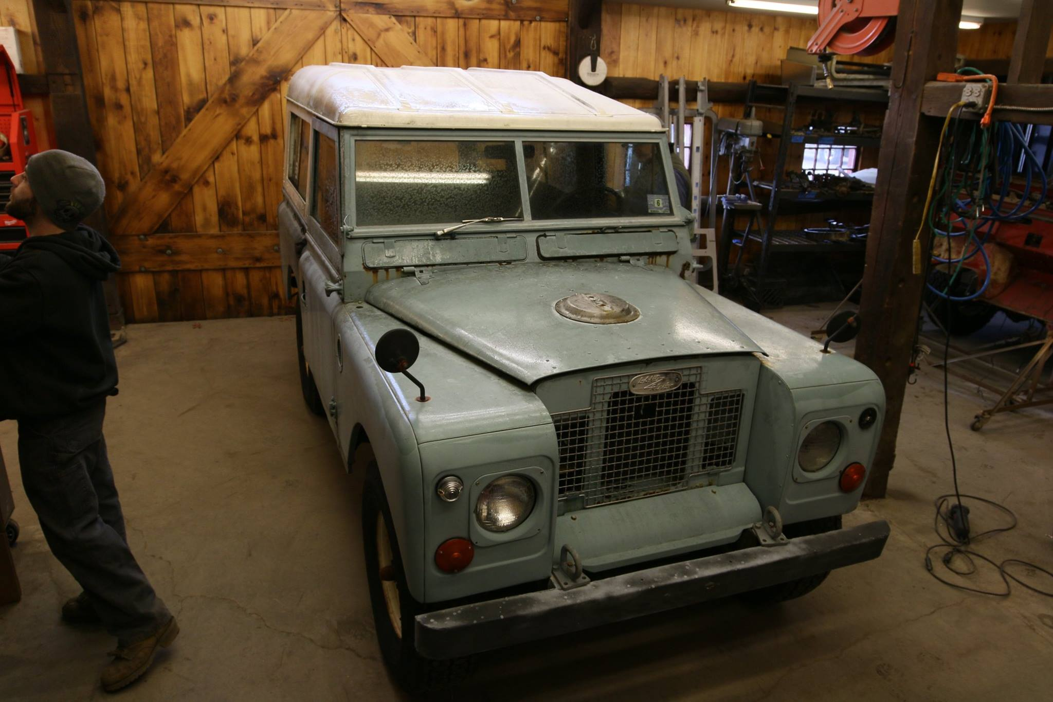 1969 Land Rover Series IIa Marine Blue before restoration.
