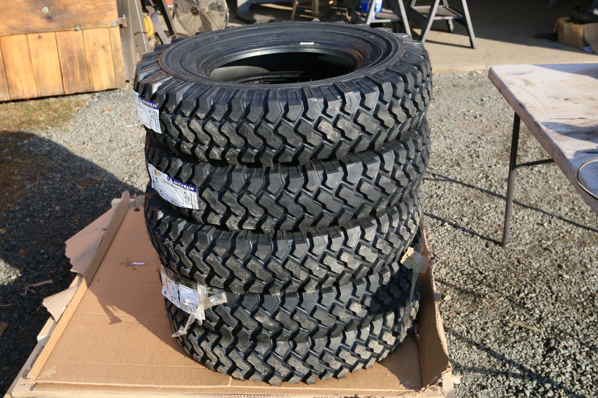 Michelin XZL 7.50 16s tires with steel belted side walls for military purposes.