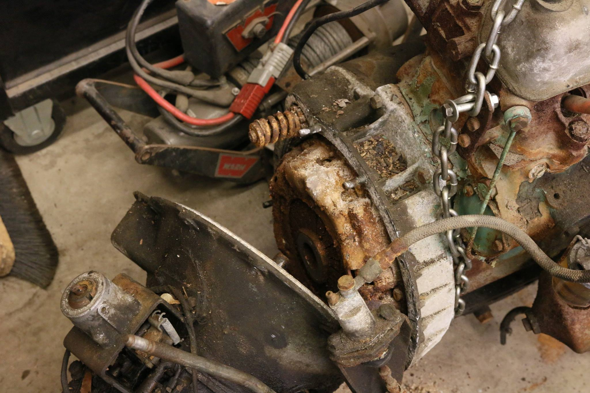 Badly rusted clutch and cracked engine block.