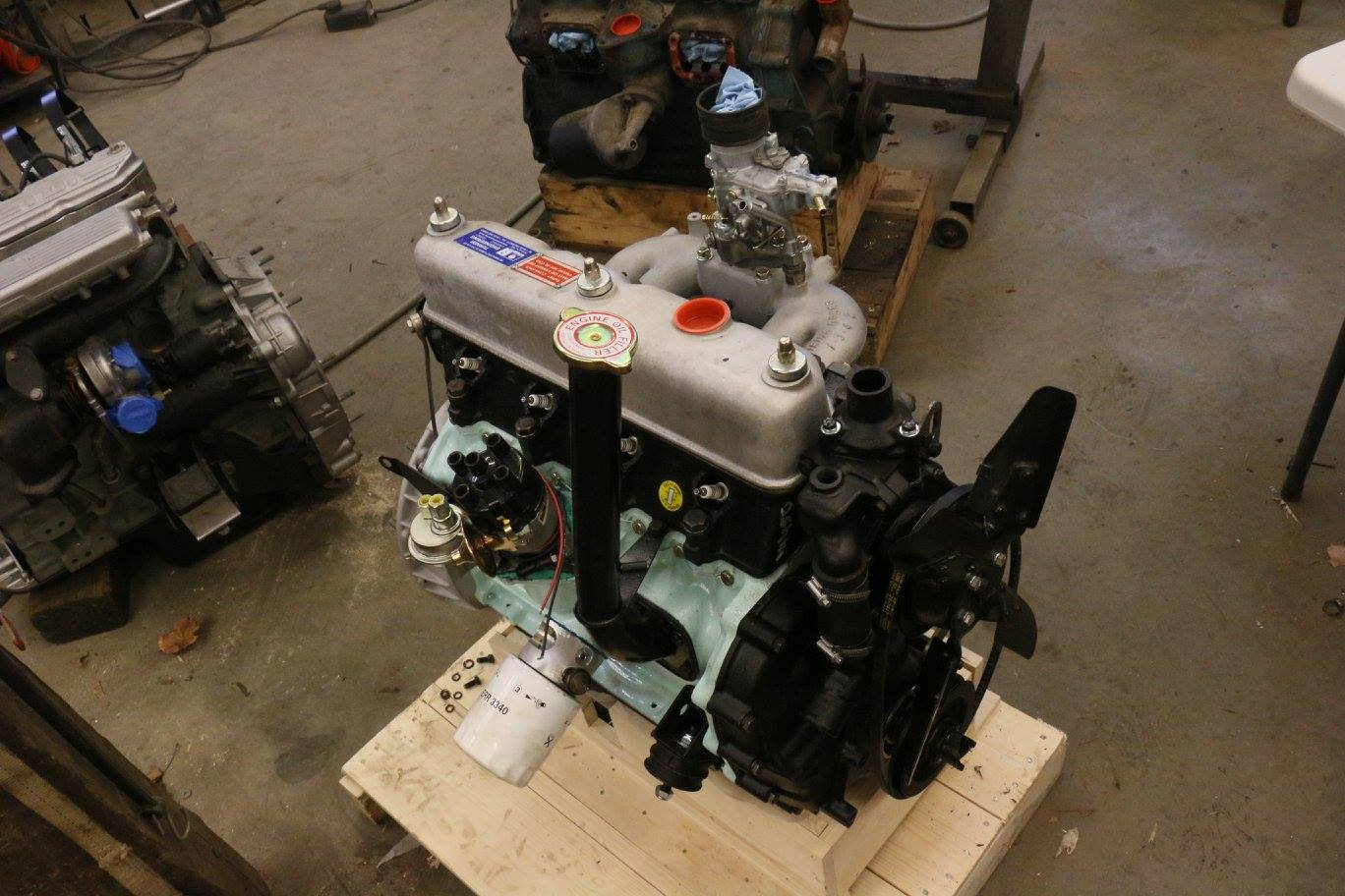The Turner engine is assembled with a spin-on oil filter conversion, Pertronix distributor, 200tdi fuel pump, and Weber carbereuter.