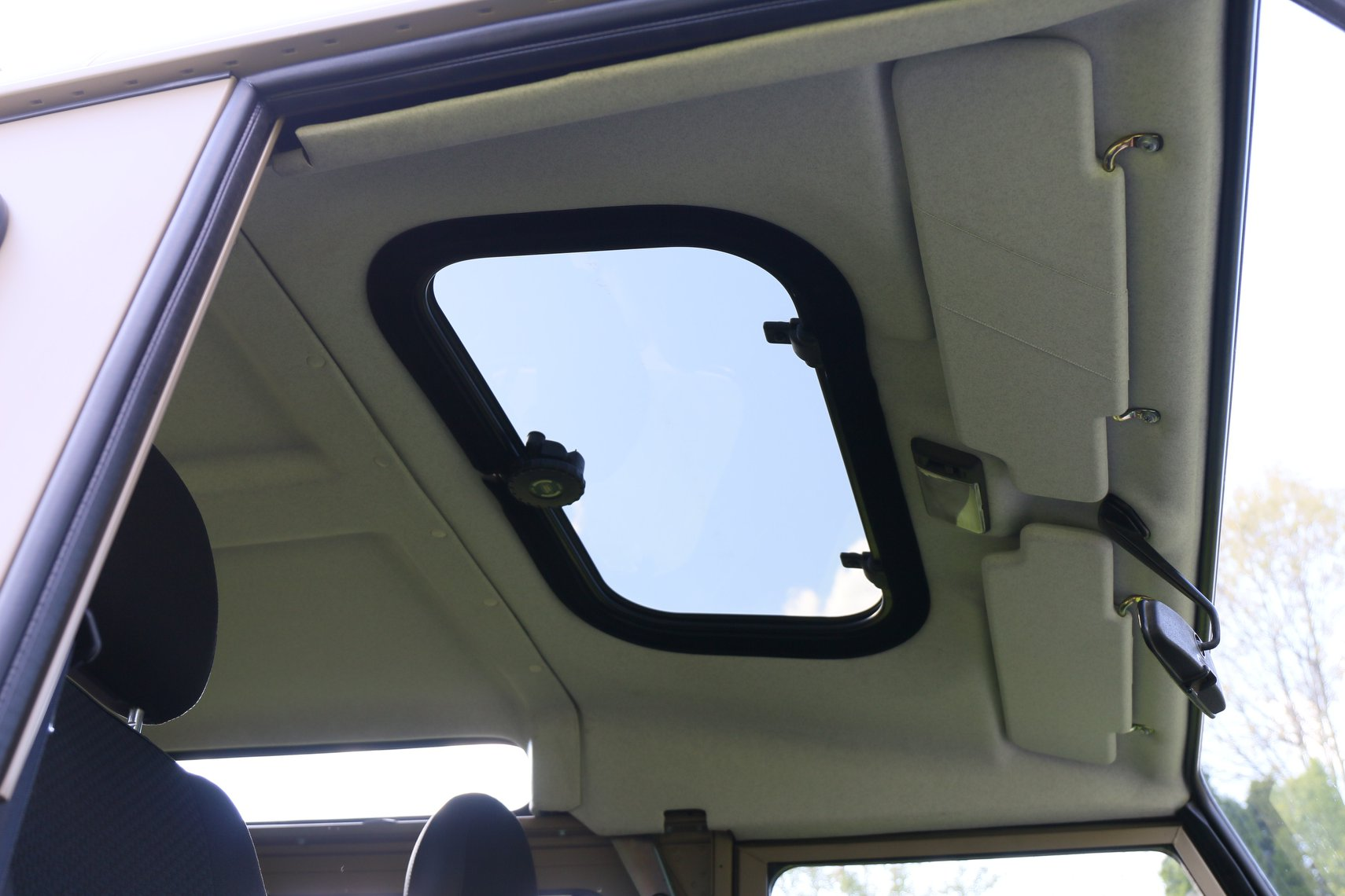 New headliner and sunroof on 1985 Land Rover Defender.