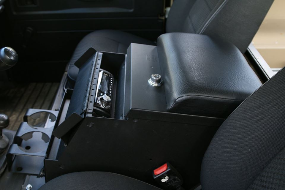 A radio is installed in the Tuffy center console.