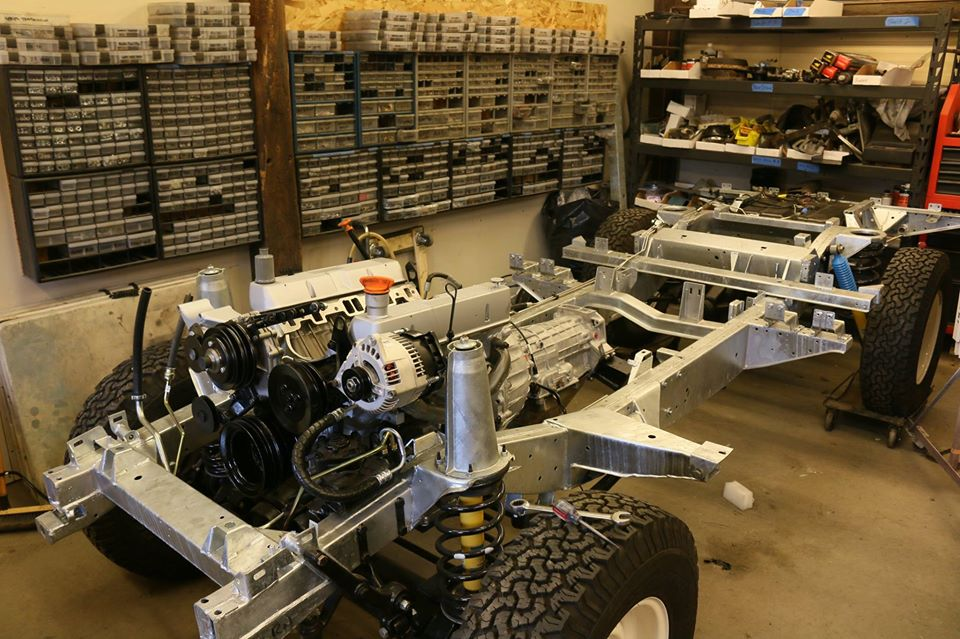 1993 Land Rover Defender rolling chassis.