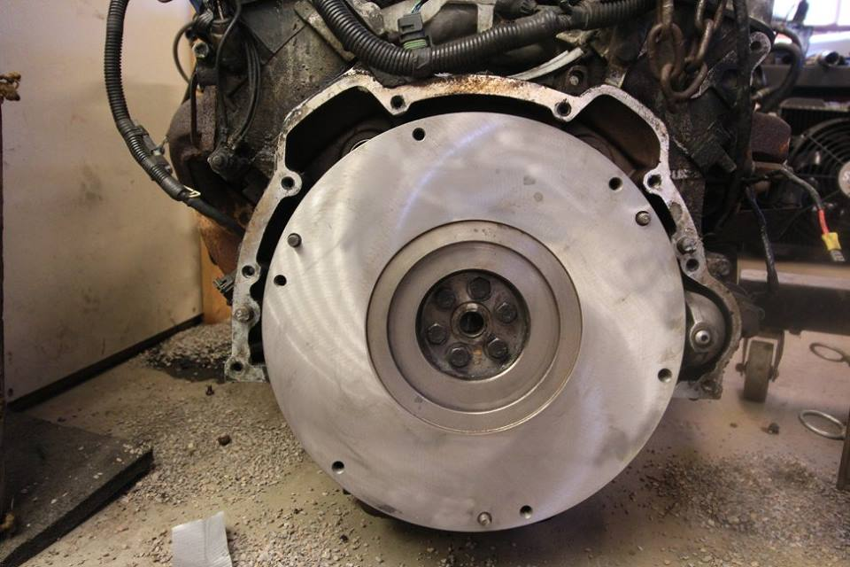 The clutch was badly worn so the flywheel was resurfaced and a new clutch was installed.