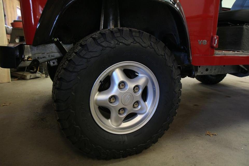 The original tires were dismounted, the wheels buffed out, new BF Goodrich all-terrain tires installed and the lug nuts were polished to a chrome-like finish.