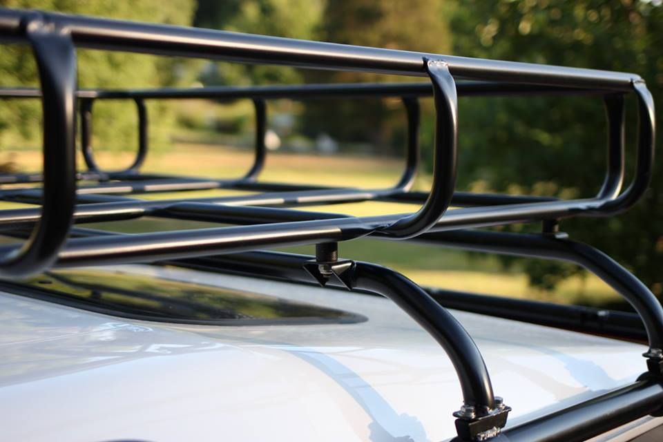 The roof rack and mounting bars were sand blasted and powder coated.