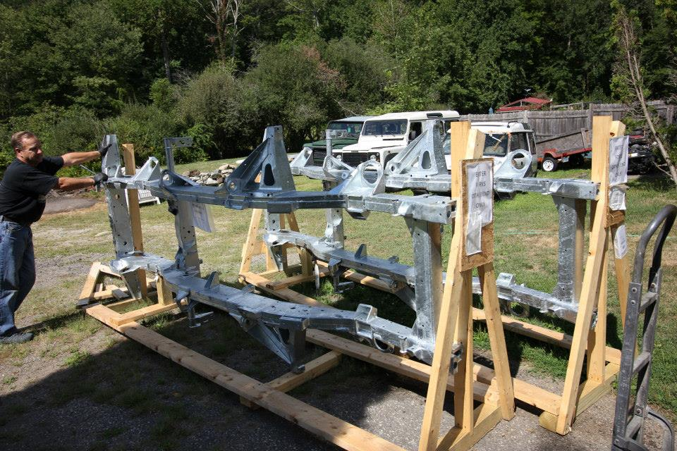 The Marsland frame arrives. Unlike some other replacement Defender frames that are made with a box section like Series frames, Marsland frames are made identical to the original Defender frames.