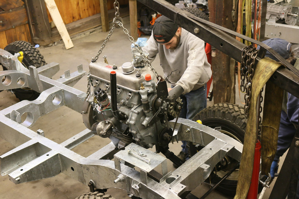 Installing engine in Land Rover chassis