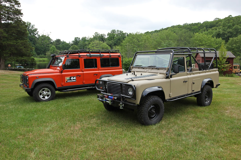 Land Rover G4 Challenge. Two different Land Rover Defender styles. Four-door station wagon and two-door soft top.