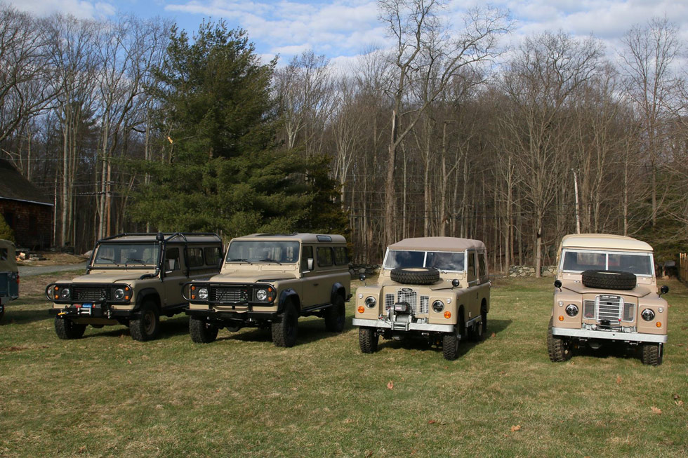 Four fully restored Land Rover NAO Expedition Land Rovers