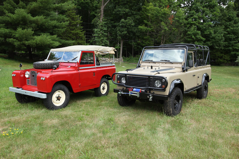 Restored Land Rover Series II and Defender